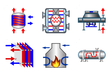 Various types of heat exchangers can be simulated